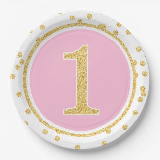 Pink Gold Faux Glitter Confetti 1st Birthday Paper Plate