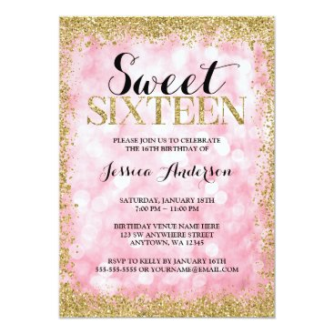 birthday Pink Gold Faux Glitter Lights Sweet 16 Birthday Card
