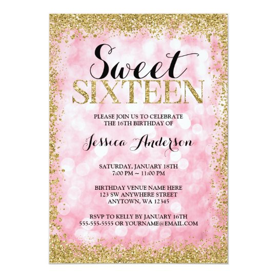 Pink Gold Faux Glitter Lights Sweet 16 Birthday Invitation Zazzle Com