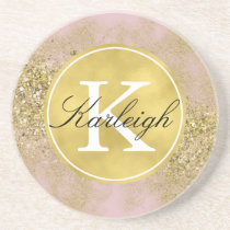 Pink Gold Faux Glitter Personalized Monogram Coaster