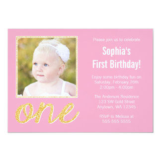 Pink Gold Faux Glitter Photo 1st Birthday 5x7 Paper Invitation Card