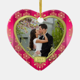 Pink Gold First Christmas Together Photo Xmas Double-Sided Heart Ceramic Christmas Ornament