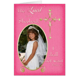 Pink Gold First Communion Photo Thank You Card Card