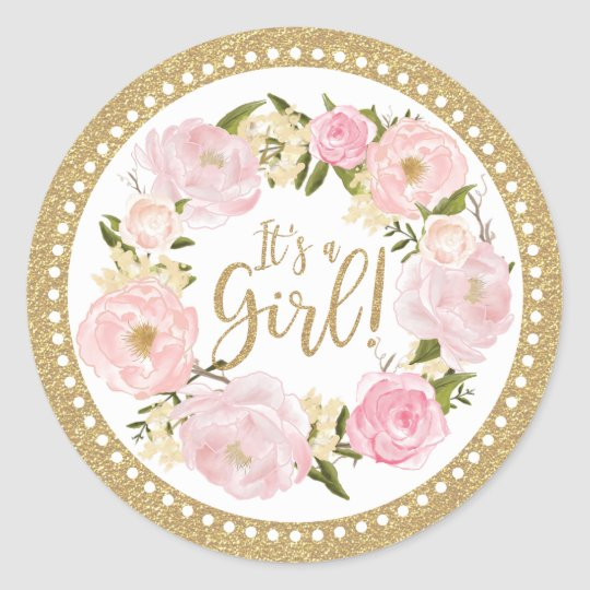 Pink gold floral baby shower favor its a girl classic round pink gold floral baby shower favor its a girl classic round sticker mightylinksfo