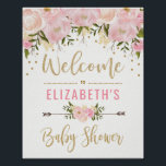 "Pink &amp; Gold Floral Baby Shower Welcome Sign Decor<br><div class=""desc"">Feminine pink and gold baby shower welcome sign featuring blush watercolor flowers and faux gold confetti</div>"