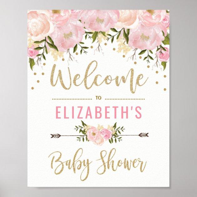Marvelous Pink U0026 Gold Floral Baby Shower Welcome Sign Decor | Zazzle.com