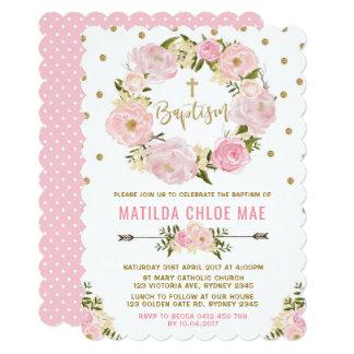 Pink Gold Floral Baptism Christening Invitation