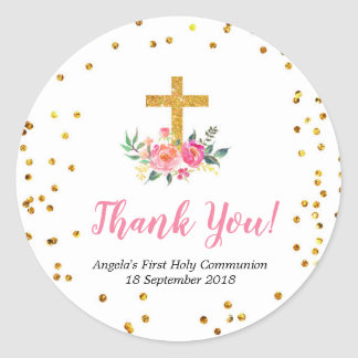 Pink Gold Floral Baptism Thank You Sticker