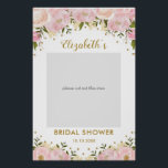 "Pink Gold Floral Bridal Shower Photo Booth Prop Poster<br><div class=""desc"">Feminine blush pink and gold photo booth prop featuring blush watercolor flowers and faux gold confetti</div>"