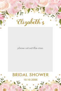 pink gold floral bridal shower photo booth prop poster