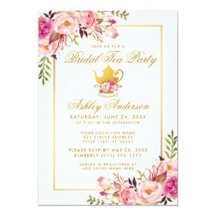 pink gold floral bridal shower tea party invite