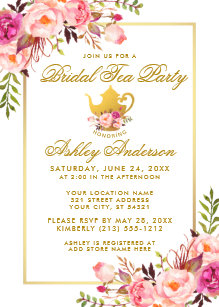 Bridal shower tea party invitations announcements zazzle pink gold floral bridal shower tea party invite filmwisefo