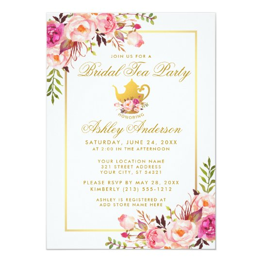 pink gold floral bridal shower tea party invite