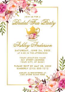 Tea bridal shower invitations zazzle pink gold floral bridal shower tea party invite filmwisefo