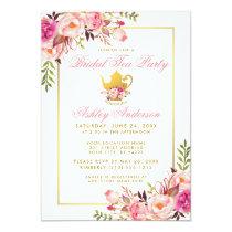 Pink Gold Floral Bridal Shower Tea Party Invite P