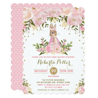 Pink Gold Floral Bunny Rabbit Baby Shower Invite