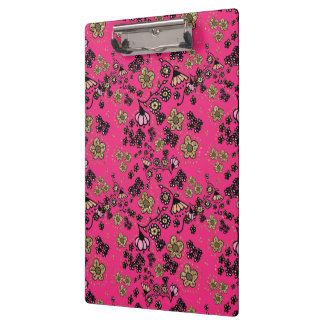 Pink & Gold Floral Clipboard