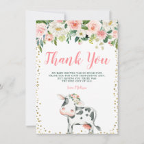 Pink Gold Floral Cow Girl Baby Shower Thank You Card