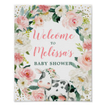 Pink Gold Floral Cow Girl Baby Shower Welcome Poster