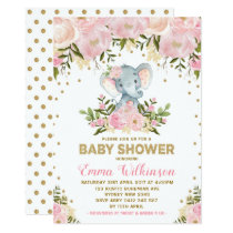 Pink & Gold Floral Elephant Baby Shower Invitation