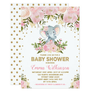 Pink Elephant Baby Shower Invitations Zazzle