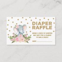 Pink & Gold Floral Elephant Diaper Raffle Ticket Enclosure Card