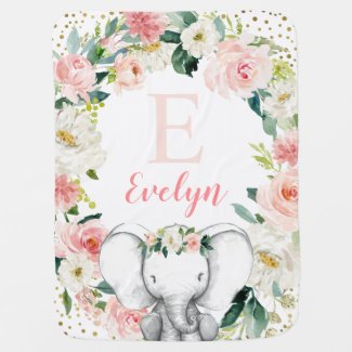 Pink Gold Floral Elephant Girl Baby Blanket