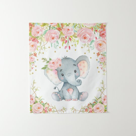 Pink Gold Fl Elephant Nursery Baby Decor Tapestry