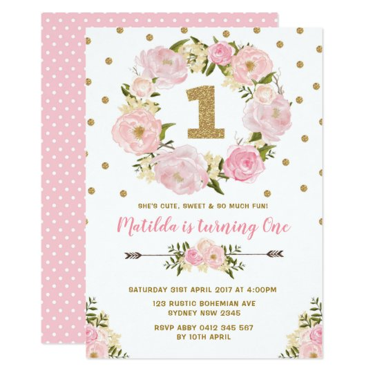 pink gold floral first 1st birthday party invite zazzle com