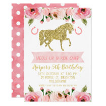 Pink Gold Floral Horse  Birthday Party Invitation