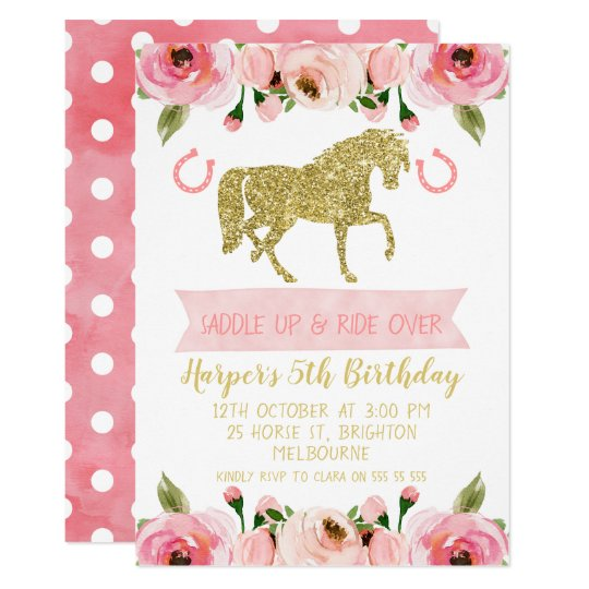 Pink Gold Floral Horse Birthday Party Invitation Zazzle Com