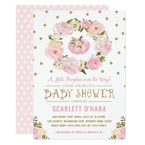 Pink & Gold Floral Pumpkin Baby Shower Invitation