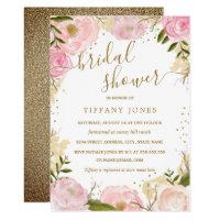 Pink Gold Floral Rose Watercolor Bridal Shower Invitation