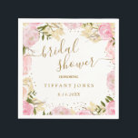 """Pink Gold Floral Rose Watercolor Bridal Shower Napkin<br><div class=""""desc"""">Matching Collection in the Little Bayleigh Store!</div>"""