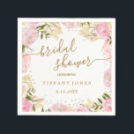 "Pink Gold Floral Rose Watercolor Bridal Shower Napkin<br><div class=""desc"">Matching Collection in the Little Bayleigh Store!</div>"