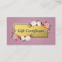 Pink Gold Floral Salon Boutique Gift Certificate
