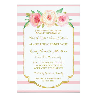 Pink Gold Floral Stripes Rehearsal Dinner Party Card