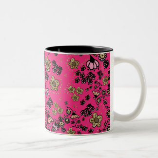 Pink & Gold Floral Two-Tone Coffee Mug