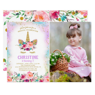 Pink & Gold Floral Unicorn Photo Birthday Party Card