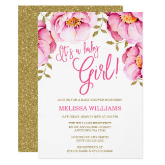Wonderful Pink Gold Floral Watercolor Baby Shower Invitation
