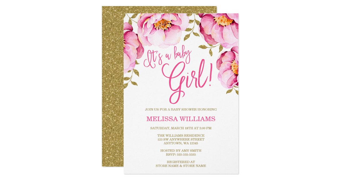 Pink Gold Floral Watercolor Baby Shower Invitation | Zazzle.com