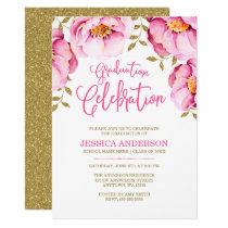 Pink Gold Floral Watercolor Graduation Invitations