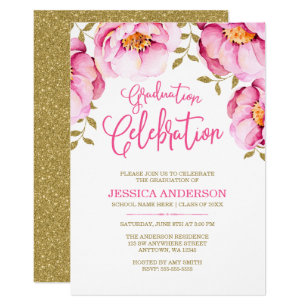 Pink graduation invitations announcements zazzle pink gold floral watercolor graduation invitations filmwisefo