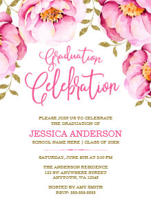 Pink graduation invitations zazzle pink gold floral watercolor graduation invitations filmwisefo