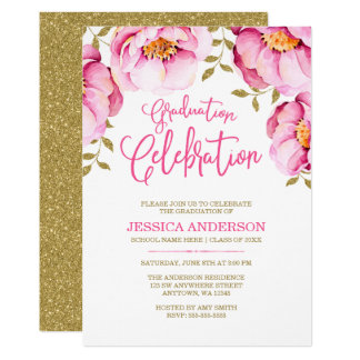 Pink Gold Floral Watercolor Graduation Invitations
