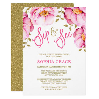 Pink Gold Floral Watercolor Sip and See Invitation