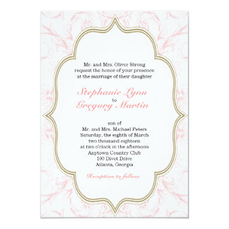 Pink & Gold Floral Wedding Invitation