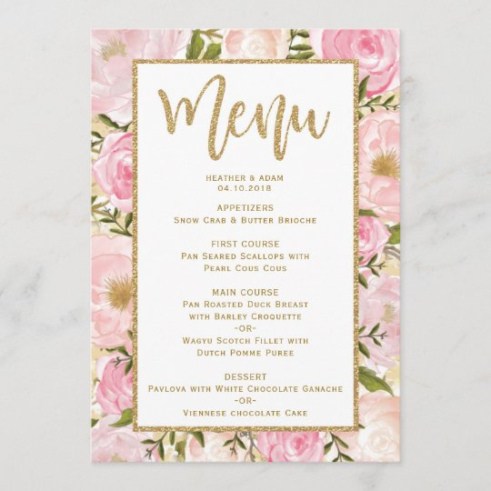 Wedding Menu Template.Pink Gold Floral Wedding Menu Template Card