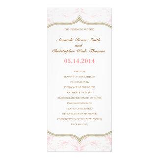 Pink Gold Floral Wedding Program Personalized Rack Card