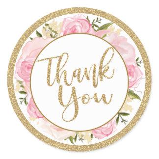 Pink & Gold Flower Wedding Thank You Round Sticker